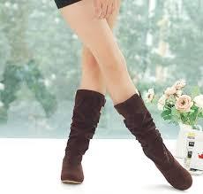 womens boots mid calf big size autumn wedge flock boots fashion flat mid