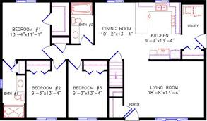 2 bedroom ranch floor plans ranch