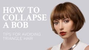 fixing bad angled bob haircut how to collapse a bob haircut avoid triangle hair youtube