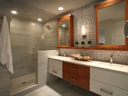 Two Sink Vanity Bathroom Arched Windows Dark Stained Wood Double Sink Mini Subway