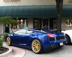 lamborghini gold blue lamborghini gallardo with gold rims and rear wing exotic