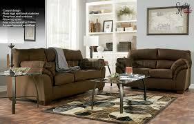 Microfiber Sofa And Loveseat Mocha Microfiber Casual Sofa U0026 Loveseat Set By Ashley Design