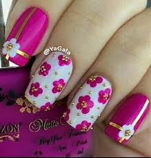 50 lovely pink and white nail art designs flower nails gold