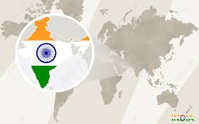 World Map With Flags Zoom On India Map And Flag World Royalty Free Cliparts With