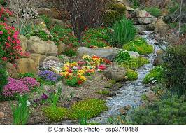 Image Of Rock Garden A Rock Garden Complete With Running And Flowering
