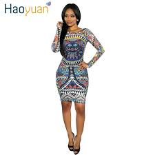 haoyuan summer club dress women long sleeve bandage african