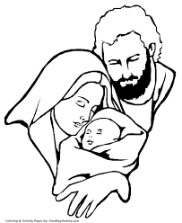 religious christmas bible coloring pages mary joseph and jesus