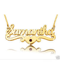 The Name Necklace Samantha Heart Gold Plated Name Necklace The Name Necklace