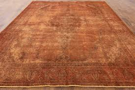 Orange And Brown Area Rugs Oriental Collection Overdyed 10 U0027x12 U0027 Hand Knotted Orange Wool Area
