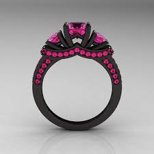 black and pink wedding rings rings pink and black black and pink wedding rings etsy line up