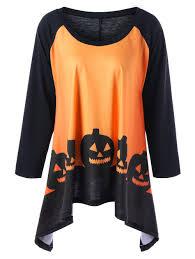 halloween shirts plus size halloween two tone t shirt orange yellow xl in plus