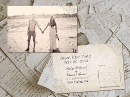 vintage save the date postcard wedding save the date with engagement photo