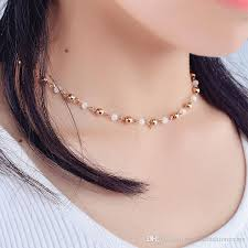 simple choker necklace images New hot simple korean crystal copper beads choker necklace for jpg