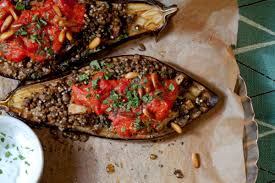 stuffed eggplant with lentils and millet recipe vegetarian times