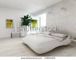inspiration white minimalist bedroom summer landscape stock