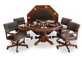 Poker Dining Table by Signature Combination Game Table Set W 4 Chairs Chestnut