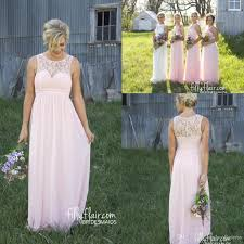 baby pink sheer crew lace neck cheap chiffon bridesmaid dresses