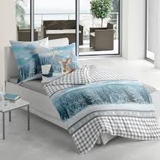 Blau F Schlafzimmer Biber Bettwäsche Hirsch Blau Aus Flauschig Weicher Baumwolle