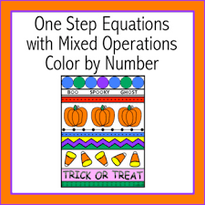 halloween step equations mixed operations color number