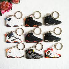 aliexpress key rings images Mini silicone jordan 7 keychain bag charm woman men kids key ring jpg