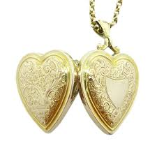 Engravable Heart Necklace Beryl Lane 9ct Rose Gold Antique Edwardian Engraved Heart Locket