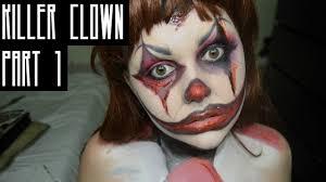 killer clown makeup halloween killer clown makeup tutorial part 1 katie rose youtube
