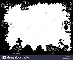 hand drawing cartoon halloween frame with cute monster silhouettes