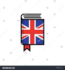 Flag Book Book Hardcover English Flag English Dictionary Stock Vector