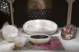White Leather Armchairs Kautsch Collection White Leather Round Sofa Virtual Flowers