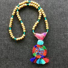 beaded medallion necklace images Boho tassel banjara beaded vintage medallion necklace honorooroo jpg
