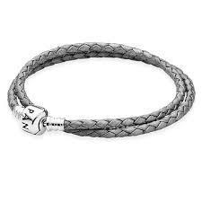 charm bracelet pandora silver grey braided leather bracelet retired