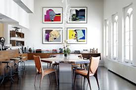 Dining Room Prints An Infusion Of Color And Comfort Lavish Tribeca Penthouse In New York
