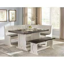 corner dining room furniture two tone french country 4 piece corner dining nook bourbon