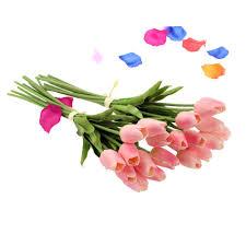 20pcs artificial tulip flowers single long stem bouquet real sales