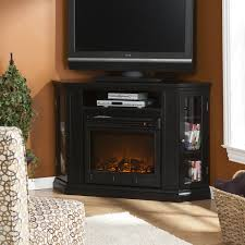 Tv Stand With Fireplace Corner Electric Fireplace Tv Stand With Cabinet In Black Corner