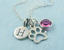personalized paw print necklace silver paw print necklace etsy