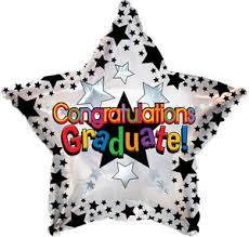 graduation balloon foil helium fill black stars congratulations