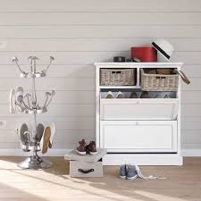 fabulous white shoe cabinet with rattan basket design feat unique