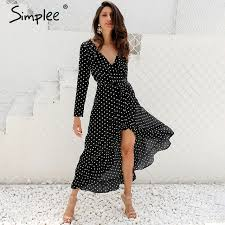 sleeve wrap dress simplee autumn sleeve polka dot ruffle wrap dress women