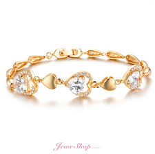 gold bracelet with pearls images Romantic heart bangles crystal 18k gold plated womens bracelets jpg