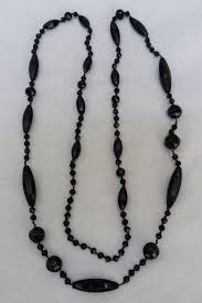 black glass necklace images Antique vintage victorian mourning black glass french jet bead jpg