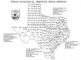 Tx Counties Map Endangered Species Clear Lake Ecological Services Southwest