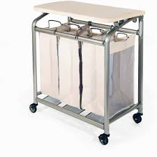 Folding Kitchen Cart by Seville Classics Deluxe Mobile 3 Bag Heavy Duty Laundry Hamper