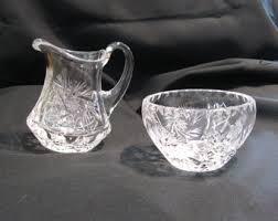 Vintage Waterford Cut Glass Crystal Vase Starburst Pattern Crystal Creamer Etsy