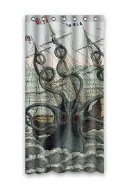 Custom Bathroom Shower Curtains Custom Shower Curtain Sea Kraken Octopus Waterproof Fabric