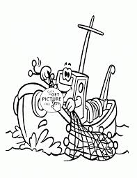 cartoon fishing boat coloring page for kids transportation