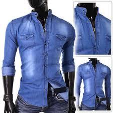 light mens denim shirt blue jeans slim fit grandad collar