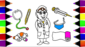 how to draw doctor and medical set for kids coloring pages art