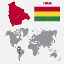 bolivia on world map bolivia map on a world map with flag and map pointer vector