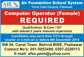 Resume For Computer Operator Job by Air Foundation System Canal Town Campus Wanted Computer
